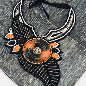 Ethnic nNecklace and Earrings Set Black and Orange